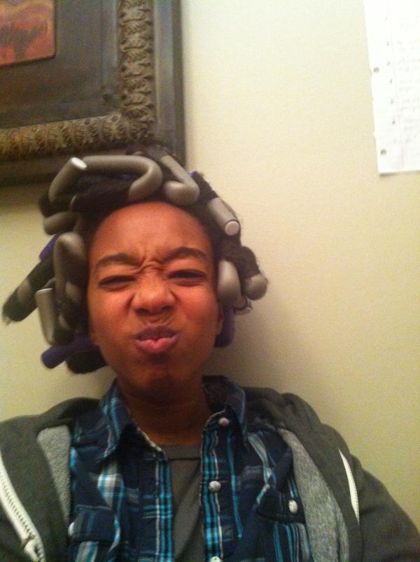 Alien head anticipating Christmas curls!